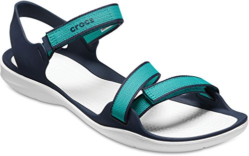 Crocs Swiftwater Webbing - Sandales Femme - Turquoise 2018