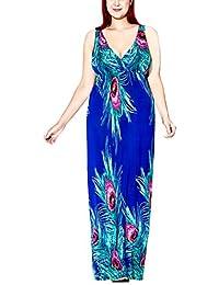 FEOYA Sexy Maxi Vestido Largo Escote en V Vestido de Fiesta Cóctel Noche Playa para Mujeres