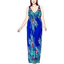 FEOYA Sexy Maxi Vestido Largo Escote en V Vestido de Fiesta Cóctel Noche Playa para Mujeres Gordas