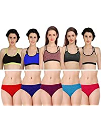 127ada3715bba Fashion Comfortz Womens Sports Bra and Panty Set Womens Girls Ladies  Undergarments Bra Panty Set for