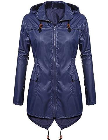CRAVOG Mode Femme Imperméable A Capuche Imprimé Points Manteau De Pluie Femme Jacket Longue Raincoat Queue De Poisson (L/EU 44-46, Bleu marine)