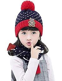 RUIXIB Bonnet Écharpe Enfant Fille Garçon Set Bonnet Tricoté + Écharpe pour  Enfant Bonnet Polaire Enfant 456caed0023
