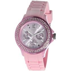Nuvo - NU 132 - Armbanduhr für Damen - Quartz - Analog - Pinkeses Armband aus Silikon - Swarovski Elemente und Diamanten - Modisch - Elegant - Stylish -