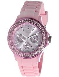 Nuvo - NU132 - Montre Femme - Quartz - Analogique - Bracelet Silicone Rose - Swarovski elements et diamant