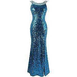 535313a764f4 Angel-fashions Da Donna Ritagliare Abiti da Ballo Perline Senza Schienale  Medium Sky Blue