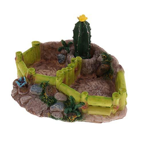Baoblaze Reptilien Futterschale Wasserschale mit Kaktus Dekoration für Schildkröte, Eidechse, Frosch, Gecko, Spinne, Schlange - Doppel