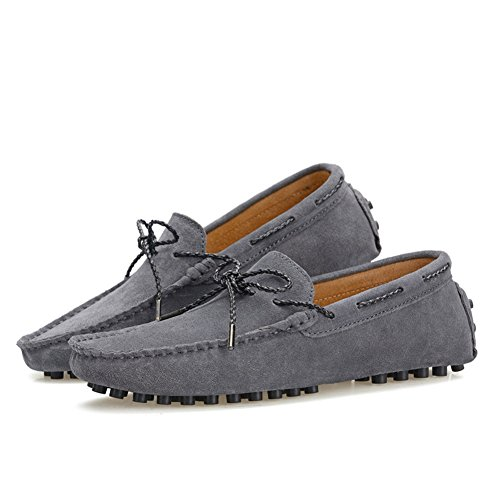 XiaoYouYu Moccassins Homme Suède Cuir Plats Slip-on Loafers Loisirs Chaussures de conduite Gris foncé