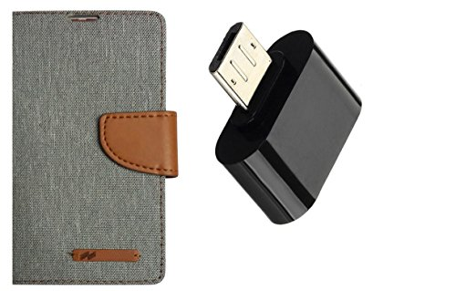 AUX MART Wallet Dairy Jeans Flip Case For Xiaomi Redmi Mi4i - Grey & OTG Adapter Superior Quality Stylist Little Compatible With Mobiles And Tablets To Attach Pen Drive,Card Reader,Mouse & Keyboard