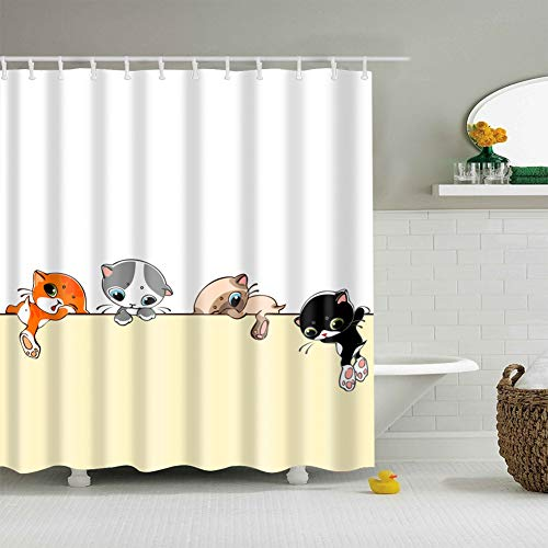 fdswdfg221 White Background Yellow Dividing Line 4 Funny Colorful Puppies 3D digital Printing Moisture Proof Mildew Bathroom Curtain 180X180CM+12 Hook - Line-spannung-track