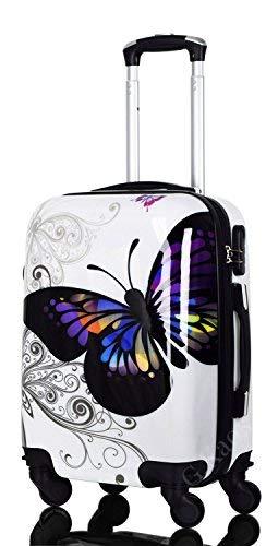 Trolley da Cabina 50 cm - Valigia Rigida 4 Ruote in ABS Policarbonato Super Leggero - Approvato per Voli Come Easyjet & Rayanair - Fantasia Farfalla (Butterfly-G 50 cm)