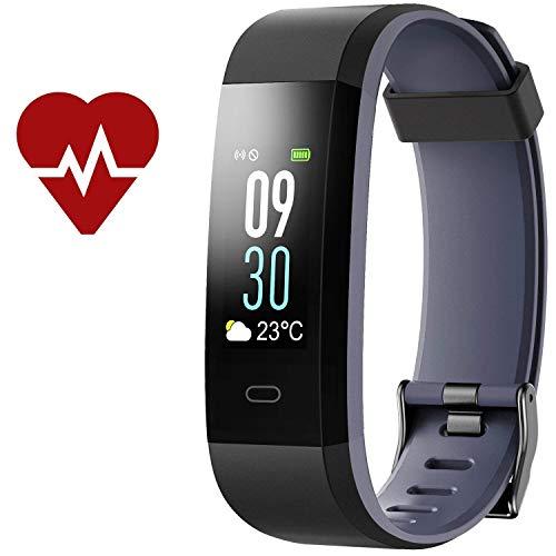 Kinbom Fitness Armband, Pulsuhren Farbbildschirm Fitness Tracker mit SchlafMonitor Armbanduhr, Schrittzähler, Kalorienzähler, IP68 Wasserdicht Aktivitätstracker Smart Uhr für Android&iOS Smartphones (BlackGray)
