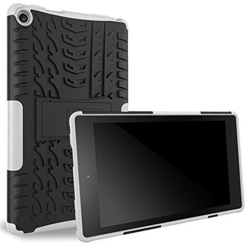 Das neue Fire HD 8 Hülle,AyiHuan Dual Layer Hybrid Rugged Heavy Duty Hard Hülle Schutzhülle mit Kickstand Schutz für das neue Fire HD 8 Tablet (6. Generation - 2016),weiß