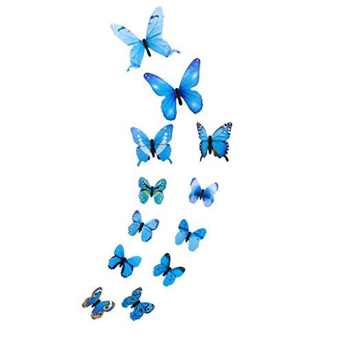 (BakeLIN Wandaufkleber Wandtattoo, 3D Schmetterlinge Kühlschrank Aufkleber Wandsticker Wohnzimmer Schlafzimmer Kinderzimmer Haus Dekoration 12 Pcs (12 Pcs, Blau))