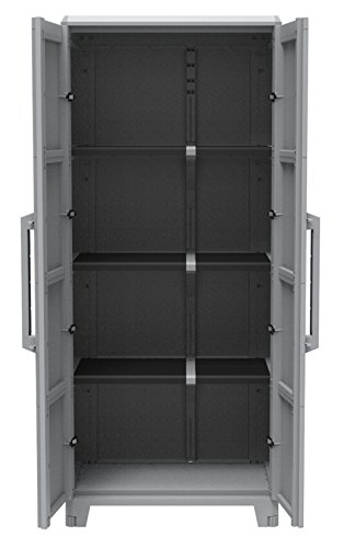 Garten 2-tür Schrank (Kreher Gartenschrank aus Kunststoff. Mit modularen Böden, abschließbaren Türen und Metallscharnieren. IP43 geprüft in 3 verschiedenen Größen. (XL))
