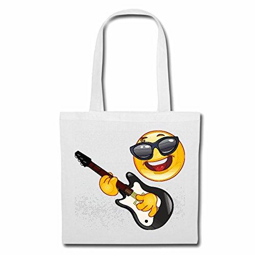 Tasche Umhängetasche Cooler Smiley MIT Sonnenbrille BEIM Gitarre Spielen Smileys Smilies Android iPhone Emoticons IOS GRINSE Gesicht Emoticon APP Einkaufstasche Schulbeutel Turnbeutel in Weiß