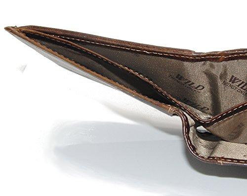 Herren Geldbörse Geldbeutel Portemonnaie Leder WILD, Farbe:Braun - 7