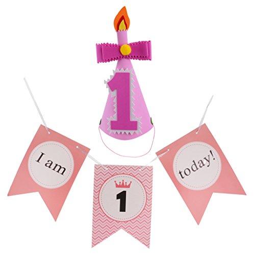Gazechimp Rosa Baby Kegel Hüte und Baby 1. Stuhl Girlande Geburtstag Party (Schnurrbart Kegel Hüte)