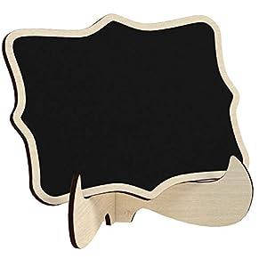 20 Mini Holz Tafel Set, KAKOO Kreidetafel Memotafel mit Stand-Füße als Tischkarte Platzkarte Namen Preis Schild für…