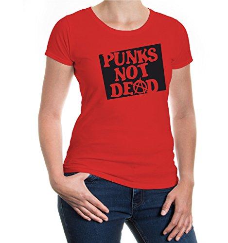 buXsbaum® Girlie T-Shirt Punks not dead Red-Black