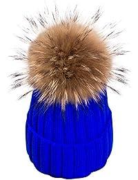 Simplee abbigliamento da donna invernale calda maglia pompon–Berretto da sci pelliccia berretto