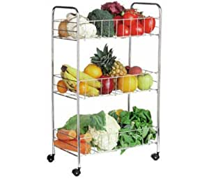 3 Tier Kitchen Chrome Trolley Vegetable Storage Rack Unit by Premier