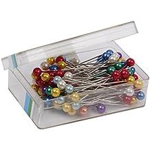 80pcs Alfileres Pin Cabezas de Perlas de Imitación Multicolores de Costura