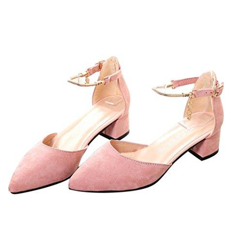 Sandales d'été,OVERMAL Sandales Compensées femme Chaussures à Talons Hauts Rose