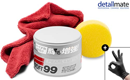 detailmate Wachs Set: Soft99 Pearl & Metallic Soft, Ultra Flauschiges Mikrofaser Poliertuch 550 GSM, 40x40cm, 80% Polyester, 20% Polyamide -