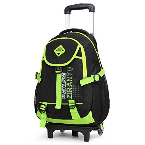 Imagen de cute lovely bolsas de viaje nailon impermeable  escolar niños bolsas de hombro senderismo maletas con extraíble mano con ruedas para alumnos estudiantes de primaria varios colores verde