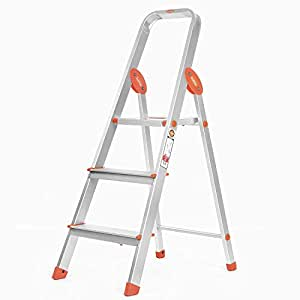 Bathla Advance 3-Step Foldable Aluminium Ladder with Sure-Hinge Technology (Orange)
