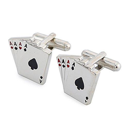 dayan-haute-qualiteplaque-rhodium-cufflink-quatre-ace-poker-taille-22-x-22-mm