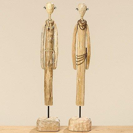 Home Collection Moderne Holz Figur Massai 2er Set sort. H69cm natur Mango