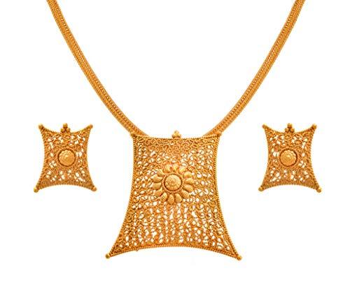 JFL - Jewellery for Less Real Gold Filigree Work Jali Design One Gram Gold Plated Pendant Set for Women, Girls