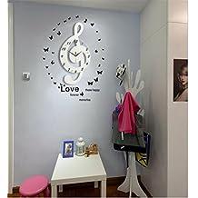 Sucastle® 52x52x29CM Holz DIY 3D Wanduhren Modern Design Acryl Wanduhren  Wandtattoo Dekoration Fürs Wohnzimmer Kinderzimmer