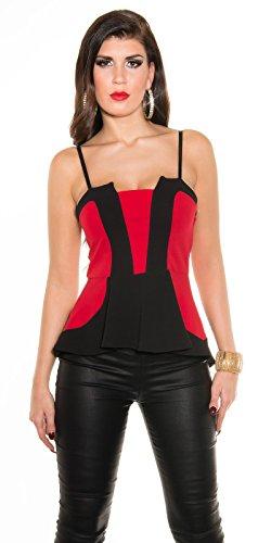 KouCla robe bandeau élégante-top avec bas'évasée bicolore trägertop coloris différents taille unique (t2265) Rouge - Rouge/noir
