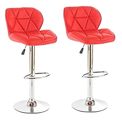 Neotechs® 2 x Red Diamond Chrome Base Gas Lift Swivel Faux Leather Kitchen Breakfast Bar Stool - low-cost UK light store.