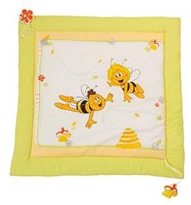 roba Spiel- & Krabbeldecke 'Biene Maja', Baby's gepolsterte Spielunterlage / Laufgittereinlage 100x100cm, 100% Baumwolle, inkl, Baby-Spielzeug