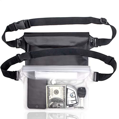 arteesol Wasserdichte Tasche Gürteltasche Strandtasche mit verstellbarem Hüftgurt Wasserdichte Beutel Bauchtasche Handyhülle Schutzhülle Strandtasche für Wassersport Strandschwimmen Bootfahren[2 Pack] -