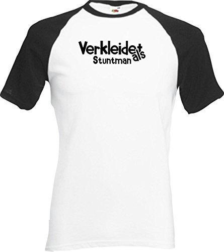 ShirtInStyle Raglan Shirt Karneval Verkleidet als Stuntman Fasching Kostüm Verkleidung, Farbe weiss-schwarz, Größe (Stuntman Kostüm)