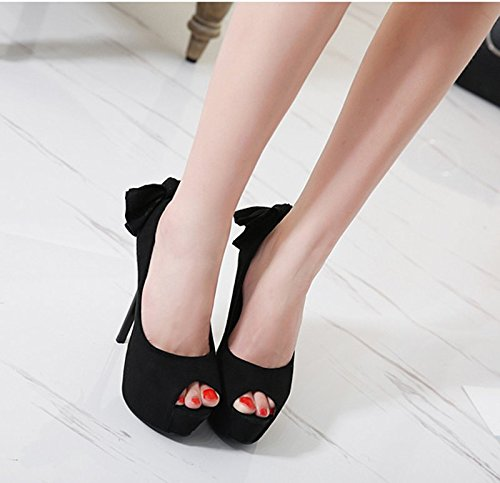 GTVERNH-primavera nera 8.5cm solo scarpe sexy arco bocca di pesce notte negozio singolo scarpe impermeabili piattaforma thick and thin tacco tacco donne,37 Thirty-five