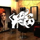 sticker mural Salon de coiffure autocollant Salon de beauté Sex Girl Decal Coupe de cheveux Affiche Mur Art Decal Décor Fenêtre Décoration Murale Pour Salon De Coiffure