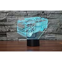 New 3D Fire Engine Car Night Light Illusion Lamp 7 Color Change LED Touch USB Table Gift Kids Toys Decor Decorations Christmas Valentines Gift