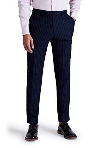 Moss London Herren Skinny Fit Marine Blau Crepe Streifen Anzug Hose 34S Blau (Marine-streifen-wolle-anzug)