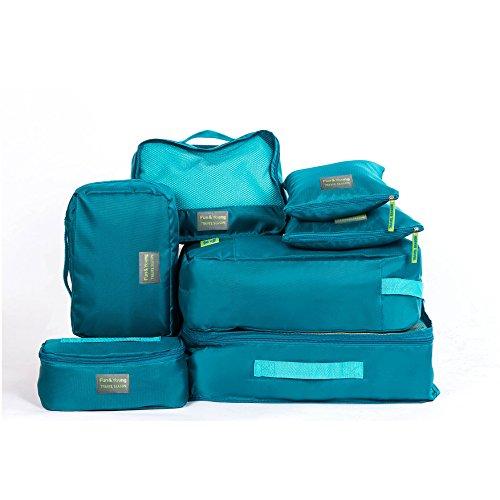 Joyolelf 7 Stück Kleidertaschen Kofferorganizer Packtaschen mit Wäschebeutel,Handgepäck und Seesäcke (Blau)