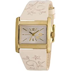 Kahuna Women's Quartz Watch with Gold Dial Analogue Display and Beige Plastic or PU Strap KLS-0266L