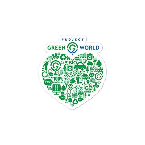 Bitcoin Meister Blasenfreie Aufkleber - Green World Project - Heart