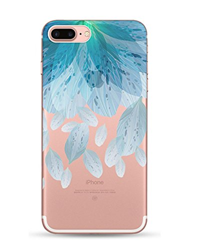 iPhone 7 Plus hülle vanki® Schutzhülle Blütenblatt Clear Case Cover Bumper Anti-Scratch TPU Silikon Handyhülle für iPhone 7 Plus(5,5 Zoll) (J) D