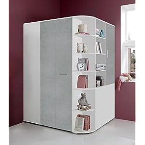 lifestyle4living Begehbarer Eckkleiderschrank weiß, betonfarbige lichtgraue Falttür | Schlafzimmerschrank | Jugendzimmerschrank | Eckschrank