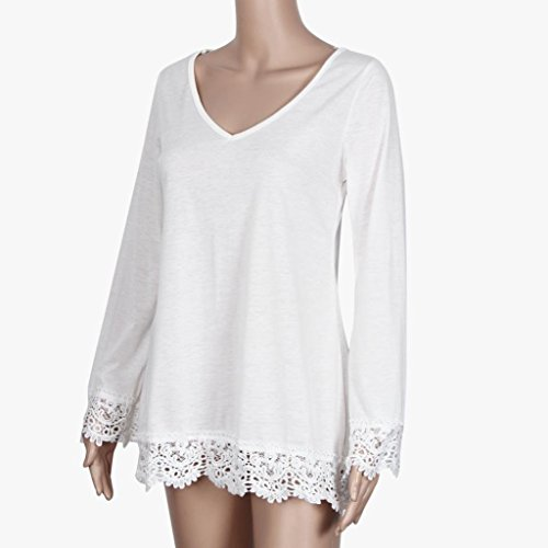 Amlaiworld Femmes pull T Shirt manches longues Tops chemise Blouse en vrac Blanc