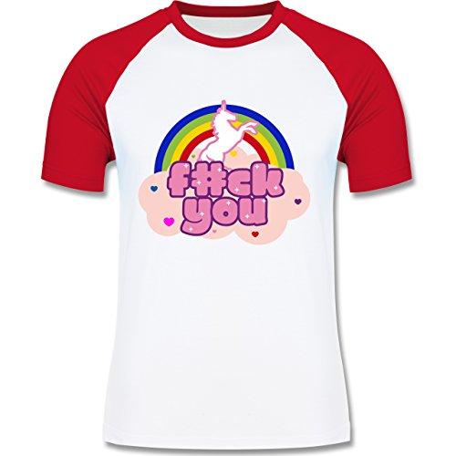 Statement Shirts - F#CK YOU Einhorn - zweifarbiges Baseballshirt für Männer Weiß/Rot